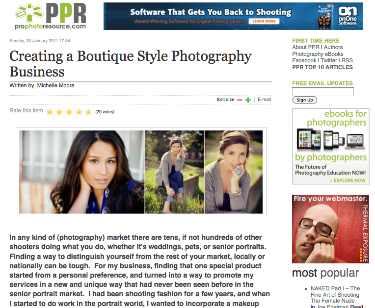 Creating a Boutique Style Photography Business a Pro Photo Resource Article by Michelle Moore