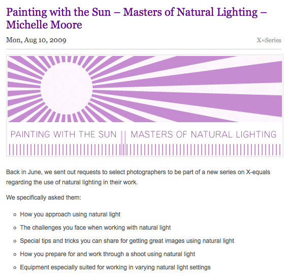 Michelle Moore - Painting with the Sun - Masters of Natural Lighting Tutorial