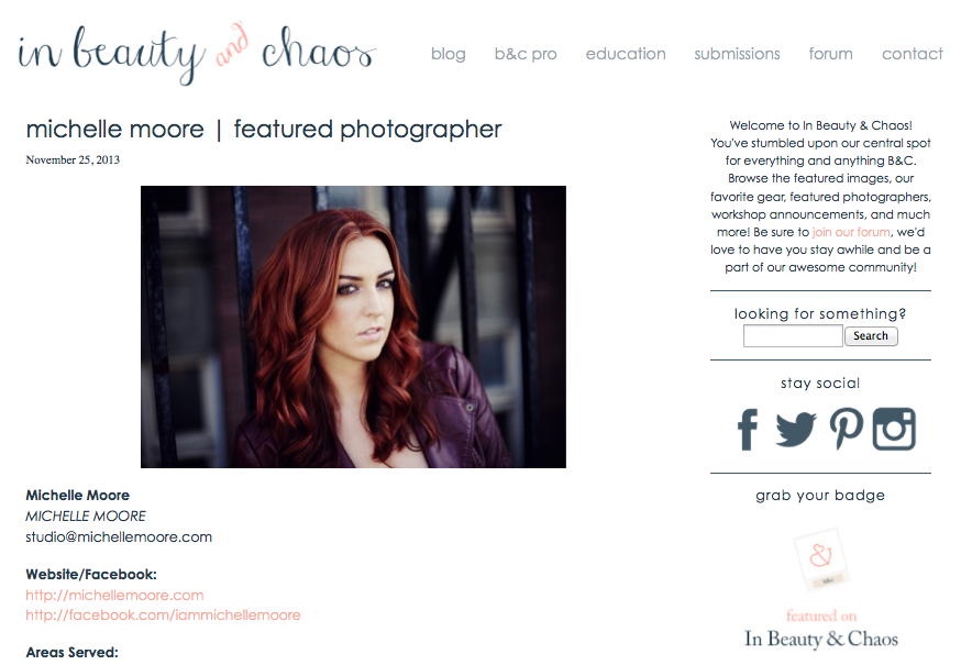 Michelle Moore In Beauty & Chaos Featured Photographer