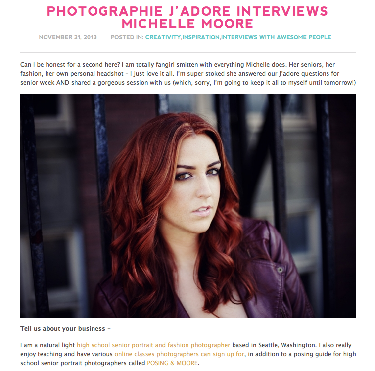 Michelle Moore Photographie Jadore Interview
