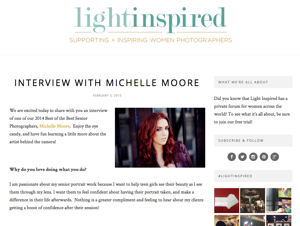Light Inspired Interview with Michelle Moore 2015