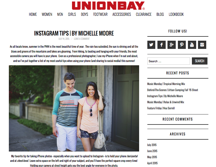 Unionbay Instagram Tips by Michelle Moore