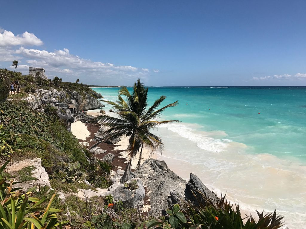 Tulum Ruins overlooking the Caribbean Ocean
