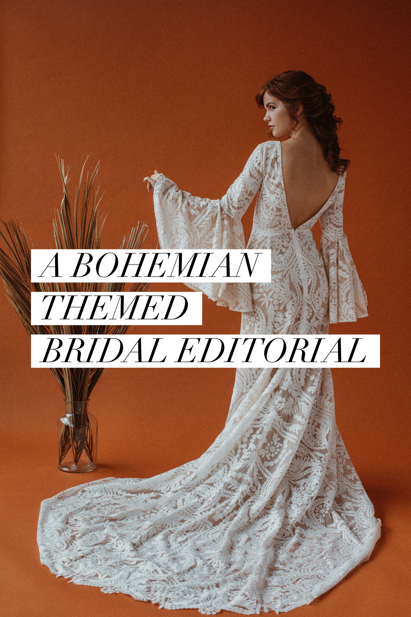 Bohemian Themed Bridal Editorial in the studio with colored paper