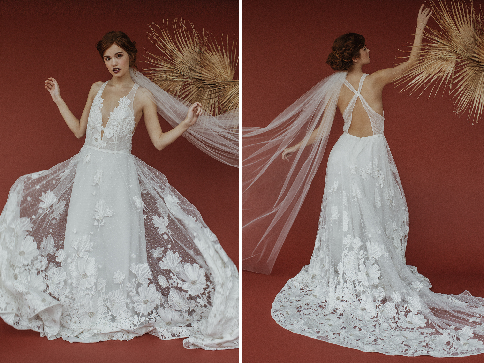 Lovely Bride Fashion editorial in studio with rustic paper from Savage Universal
