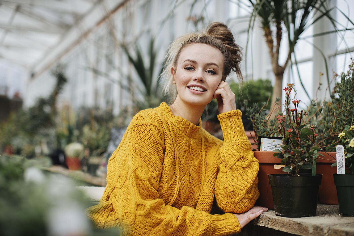Senior Photos in a Greenhouse with Seattle photographer Michelle Moore